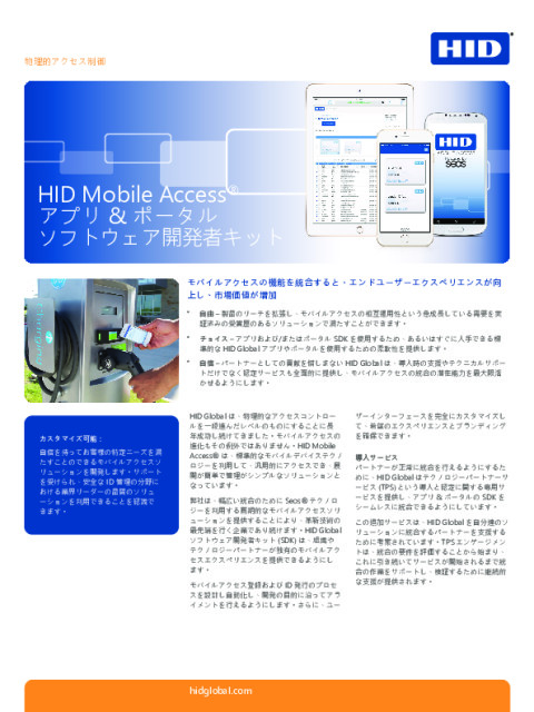 HI MOBILE ACCESS APP AND PORTAL SOFTWARE DEVELOPER KIT DATASHEET (JAPANESE)