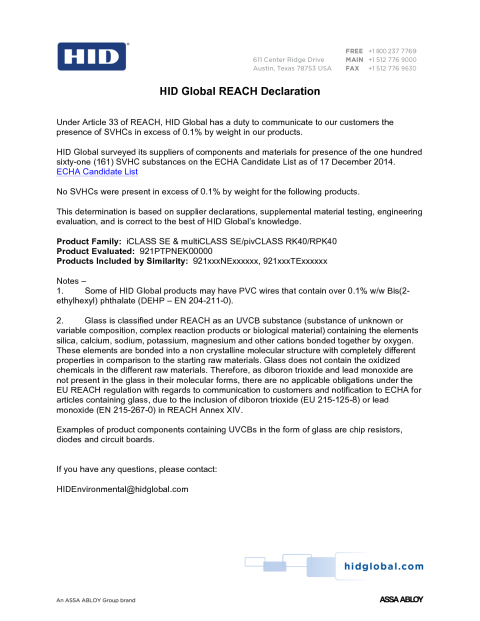 REACH Declaration RK40/RPK40